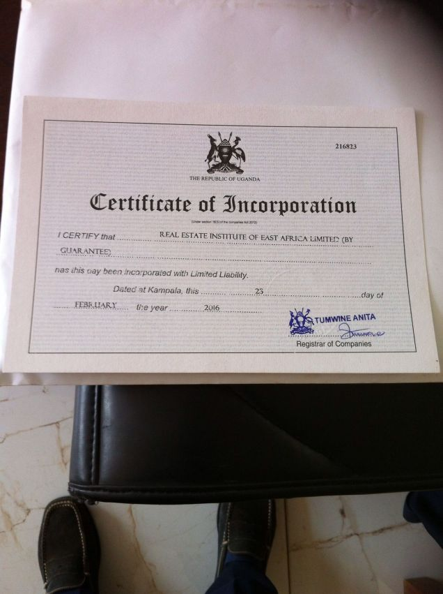 Certificate of Incorporation Real Estate Institute of East Africa